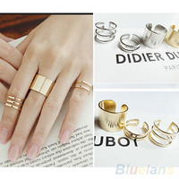 3Pcs/Set Fashion simple gold color ring