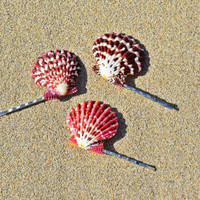 Set of 3 Cute Purple Scallop Seashell Mermaid Bobby Pin Hair Accessories perfect for Gifts, Summer or a Beach Wedding