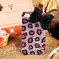 iPhone 4 Case, iPhone 4s Case, iPhone 5 Case, bling iphone 4 case, iphone 5 bling case, Cute iphone 4 case, Cheetah iphone 4 case bling bow