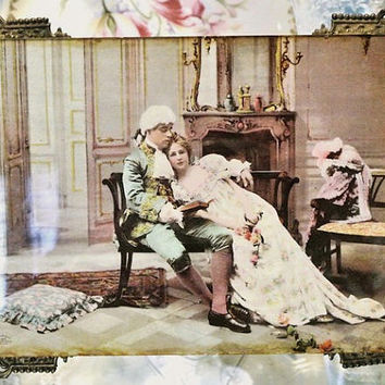 Ullman Mfg Co NY Chromolithograph Print 1899 Antique Ornate Brass Filigree Frame Original Easel Victorian Courting Lovers Couple Scene