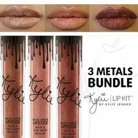 kylie jenner matte liquid lipstick metals bundle 3pcs set king k reign heir metals