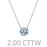 Lafonn Simulated Two Carat Round Cut Diamond Solitaire Pendant