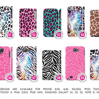 Animal Prints Nebula Leopard Cheetah Zebra Giraffe Pink Teal Case「 For iPhone 5 5S 4 4S 3G 3GS iPod Touch Galaxy S4 S3 S2 Note 1 & 2 」