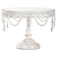 10 Inch Vintage Round Mirror-Top Crystal Cake Stand (Whitewashed)