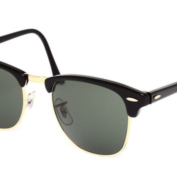 Ray Ban RB3016 Clubmaster Classic Unisex Black Gold Sunglasses 0464