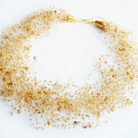 FREE SHIPPING. golden brown multistrand Bead  Necklace - 'Summer Celebration'