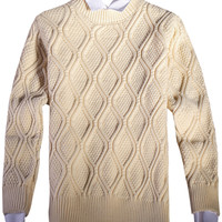 Ribbed Trim Simple Color Knit Pullover Argyle Sweater