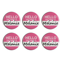 Melanie Hello My Name Is Plastic Resin Button Set of 6