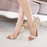Big Size Butterfly Heels Sandals  Thin High Heels Women Pumps ,Sexy Wedding Shoes Party  fashion women shoes