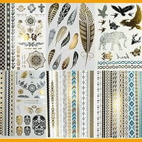 Super Metallic Gold Silver Black Jewelry Temporary Bling Tattoo 6 Sheets Pack (L2 Style)