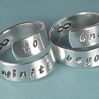 To Infinity and Beyond Rings - Adjustable Aluminum Couples Wrap Ring Set