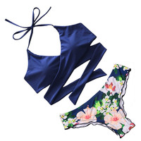 Sexy Cross Brazilian Bikinis Women Swimsuit Bordered Swimwear Fall Floral Cross Criss Bikini Set Halter Bathing Suits Swim