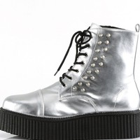 Silver Combat Rave Creeper Shoes