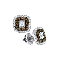 10kt White Gold Womens Round Cognac-brown Colored Diamond Square Frame Cluster Earrings 1/2 Cttw 88931
