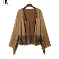 Khaki Faux Suede Leather Tassel Cropped Jacket Coat Long Sleeve Slim Fringed Back Casual Loose 2016 Spring Fall Women Outwear