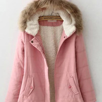 Pink Faux Fur Hood Zip-Up Coat