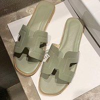 Hermes Summer Popular Women Candy Color Leather Beach Slipper Sandals Shoes Green