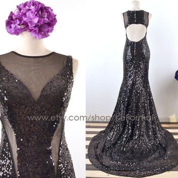 Black Sequin Prom Dresses, Long Mermaid Sequin Prom Gown, Open Back Black Formal Gown, Sequin Evening Gown