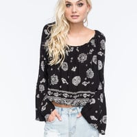 PATRONS OF PEACE Off The Shoulder Womens Top   Blouses