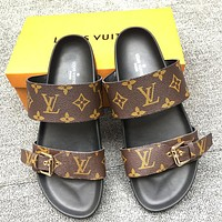 LV New fashion monogram leather print flip flop slippers shoes Coffee
