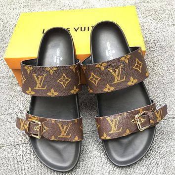 Hipgirls LV New fashion monogram leather print flip flop slippers shoes Coffee