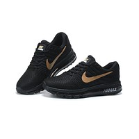 NIKE AirMax Fashion Men Leisure Sports Air Cushion Running Shoes Sneakers Black(Gold Hook) I