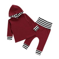 Pudcoco New Autumn Winter Children Clothing 2pcs Toddler Infant Baby Boy Clothes Set Striped Plaid Hoodie Tops+Pants Outfits