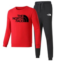 The North Face Autumn and winter new fashion letter print long sleeve top and pants leisure sports couple two piece suit Red