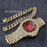 Raonhazae Hip Hop Iced Lab Diamond Drizzy Drake Red Face 14K Gold Plated Watch with 12mm Cuban Link Bracelet Set