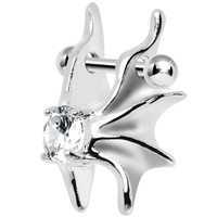 Silver 925 Clear CZ Silver 3D Gargoyle Wings Cartilage Barbell Cuff | Body Candy Body Jewelry