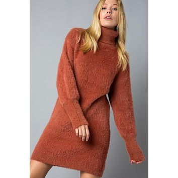 Mohair Turtleneck Sweater Dress