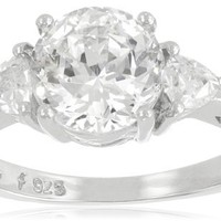 """Platinum-Plated """"100 Facets Collection"""" Cubic Zirconia Three-Stone Ring (3 cttw)"""