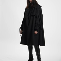 Black Oversized Cape Trench Coat