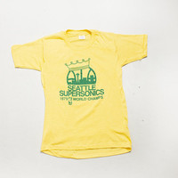 Vintage 1970s T-Shirt - SEATTLE Super SONICS Yellow World Champs Tee NOS - Small