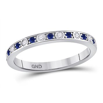 10k White Gold Round Blue Sapphire Diamond Alternating Stackable Band Ring 1/4 Cttw