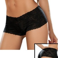 Sexy Black Lace Boy Shorts Panties