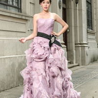 Purple Strapless Prom Performance Formal Evening Dress with Ruffle Rosette Skirt