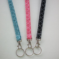 Lanyard  ID Badge Holder  Lobster clasp and key ring New Thinner Design - Quatrefoil aqua, coral, or black coworker friend mothers day gift