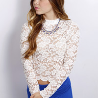 High Rise Lace Crop Top: White