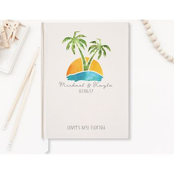 Wedding Guest Book, Hardcover, Palm Trees, Ivory, Choice of Sizes and Colors