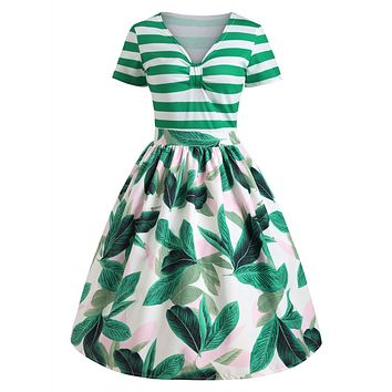 Tropical Print Striped Pin Up Vintage Dress