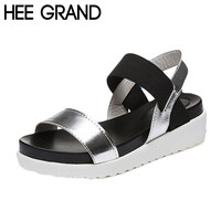 HEE GRAND Women Sandals Platform Flat With Color Patchwork Casual Leopard Black White Shoes Woman Summer Gladiator Shoes XWZ2741