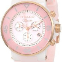 """MULCO Unisex MW3-11009-083 """"Ilusion"""" Ceramic Watch with Pink Silicone Band"""