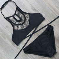 Black High Neck Bandage Bikini Set
