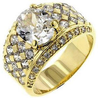 Gold Oval Cubic Zirconia Ring, size : 13