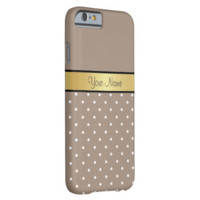 Gold Monogram Elegant Straw Brown White Polka Dots Barely There iPhone 6 Case