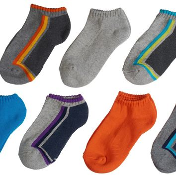 7-Pack Cute Athletic Side Striped and Banded Low Cut Cool Color Socks