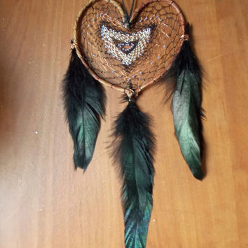 Heart Dream Catcher // Gift for Her, Home Decor, Apartment Wall Hanging