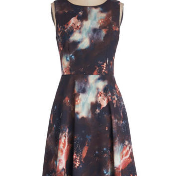 ModCloth Cosmic Long Sleeveless A-line The Way I Galaxy It Dress
