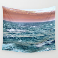 Brave ocean. Square vintage. Windy high sea Wall Tapestry by Guido Montañés